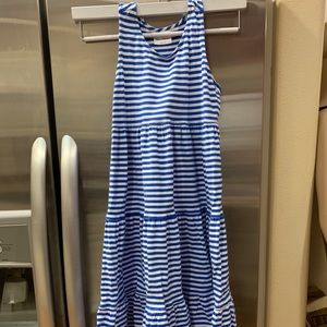 Hanna Andersson blue white dress Size 140 10 girls